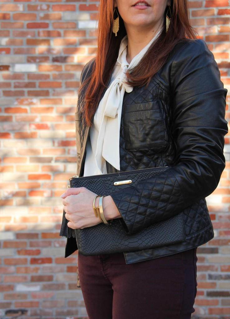 Quilted Leather Jacket, Gigi NY Clutch and Wanderlust & co bracelet | Lady in Violet