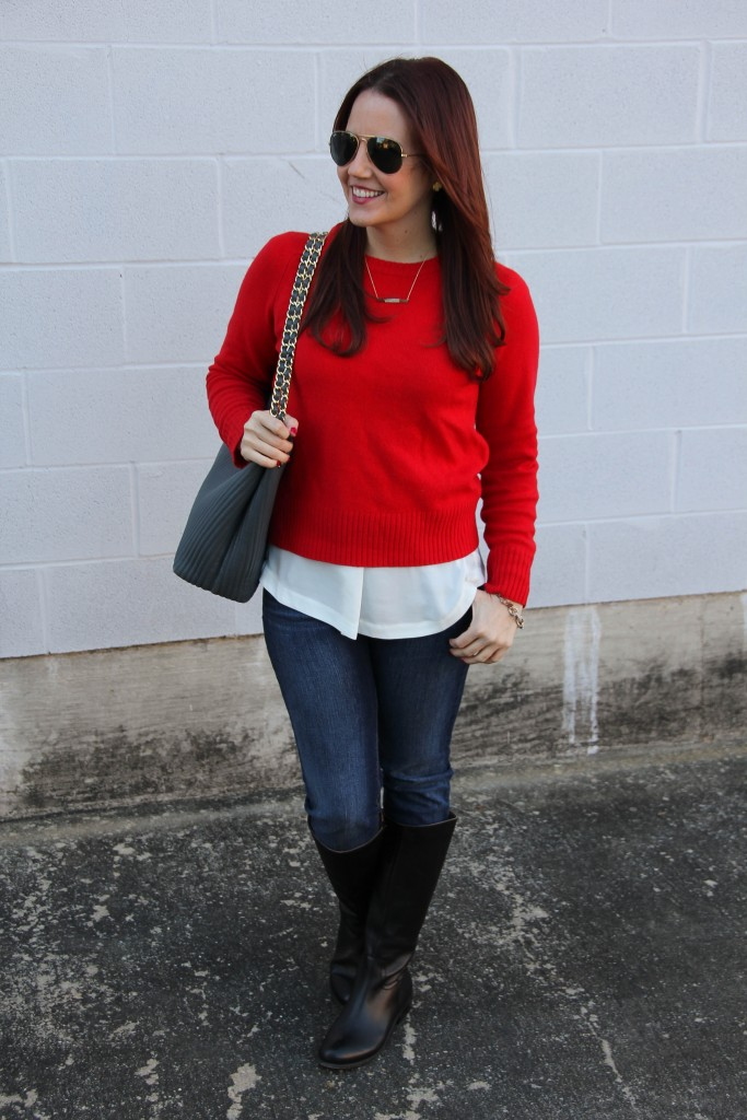Sweater Jeans Boots - Layered Outfit   Lady in Violet