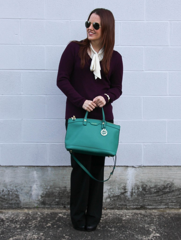 Winter Work outfit - sweater and flared pants | Lady in Violet