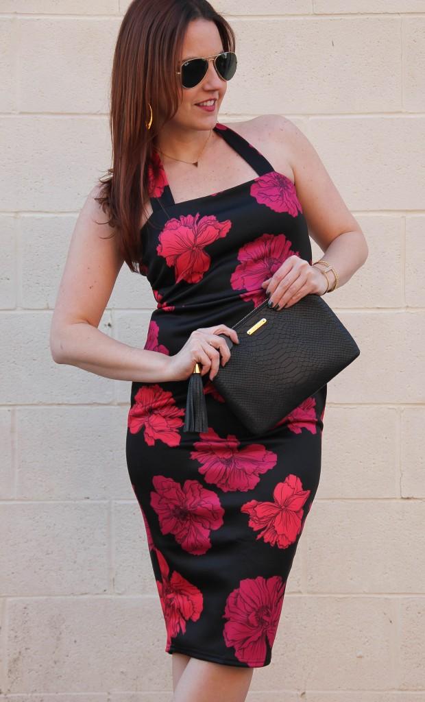 Black and Pink Floral Dress | Lady in Violet