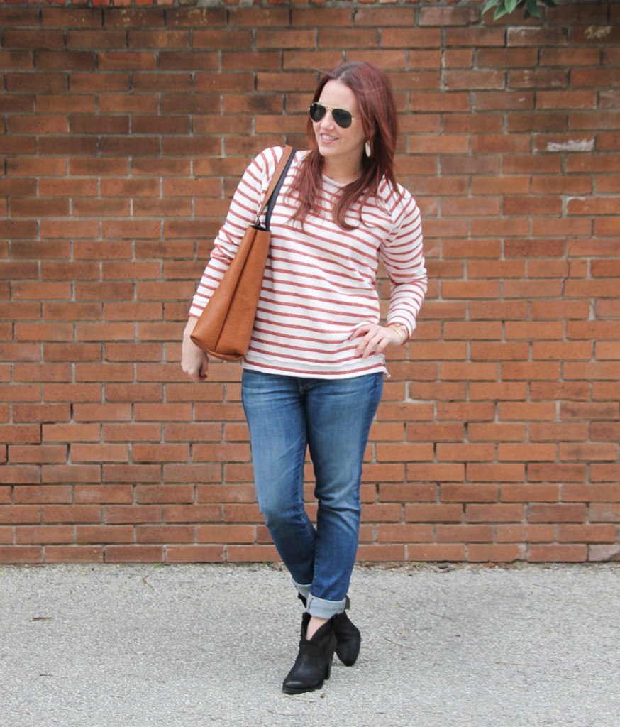 Fall Outfit Idea - Striped Tee and Skinny Jeans | Lady in Violet