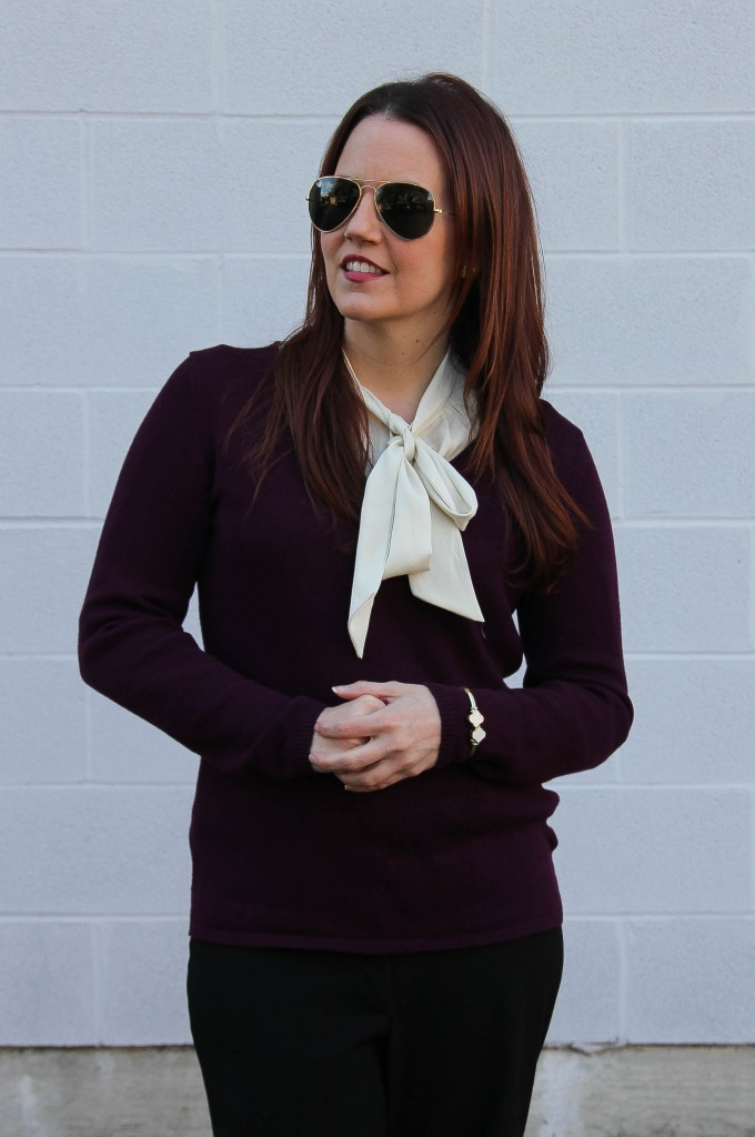 Layered Work Outfit - V-Neck Sweater and tie neck blouse | Lady in Violet