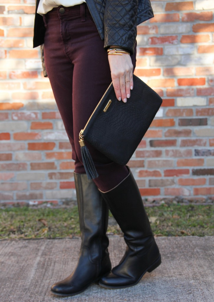 Maroon skinny jeans and black riding boots | Lady in Violet