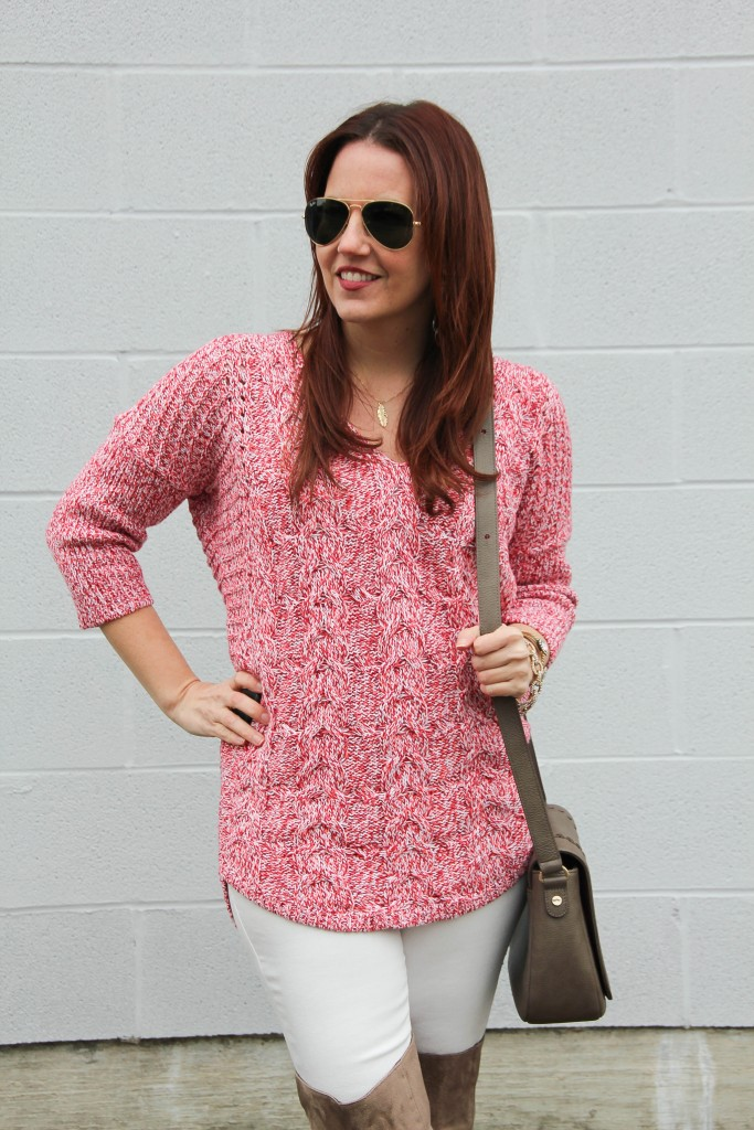 Pink Tunic Sweater with White Denim | Lady in Violet
