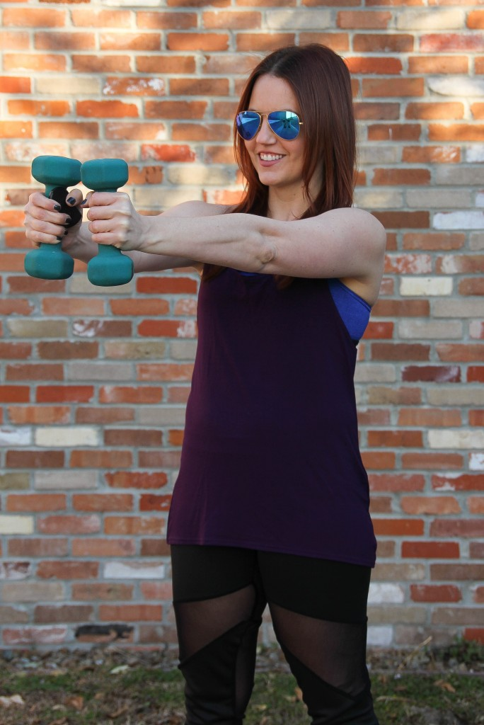 Purple gym tank and Nike sports bra | Lady in Violet