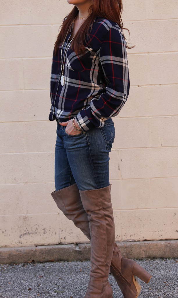 Rodeo Outfit Idea - plaid shirt and over the knee boots | Lady in Violet