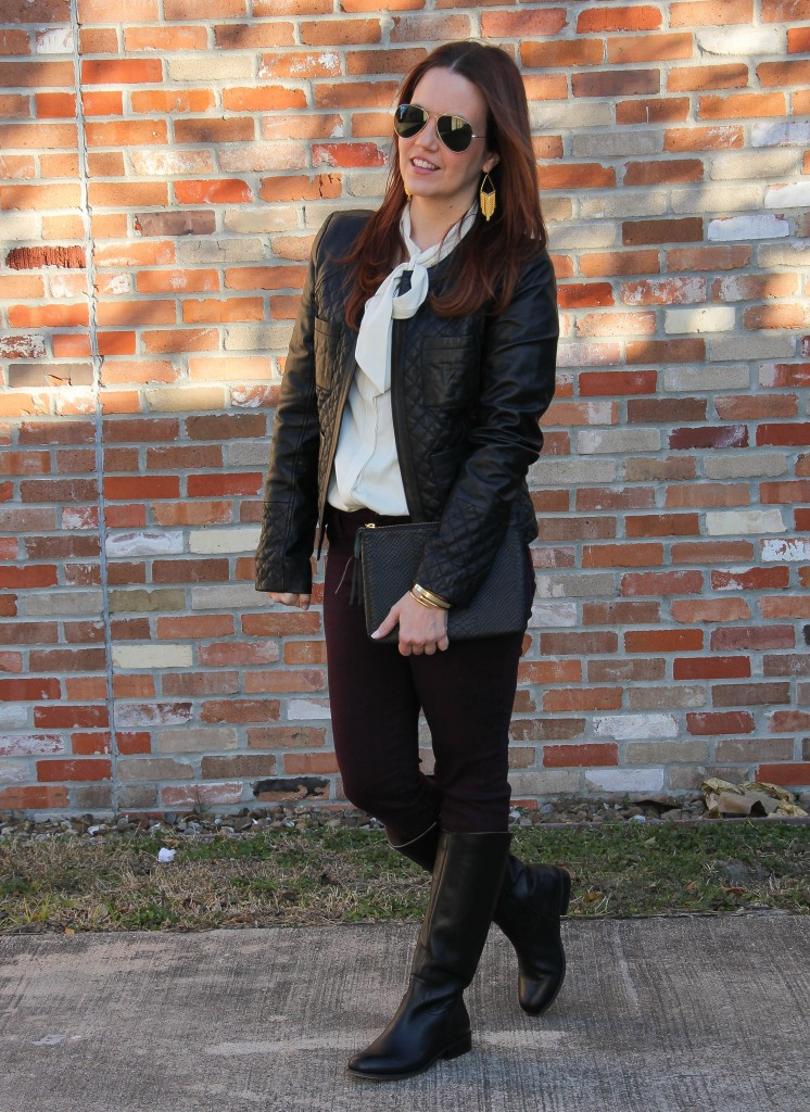 Casual Winter Outfit - Skinny jeans and leather jacket | Lady in Violet