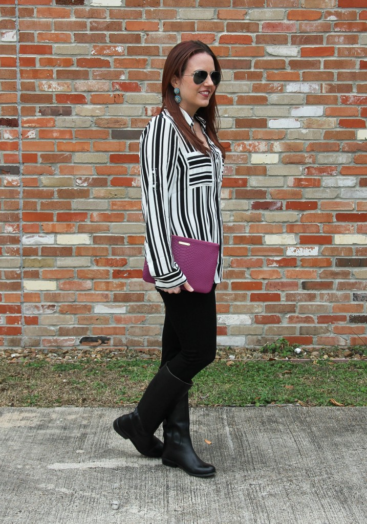 Fall Outfit - Striped Blouse and skinny jeans | Lady in Violet
