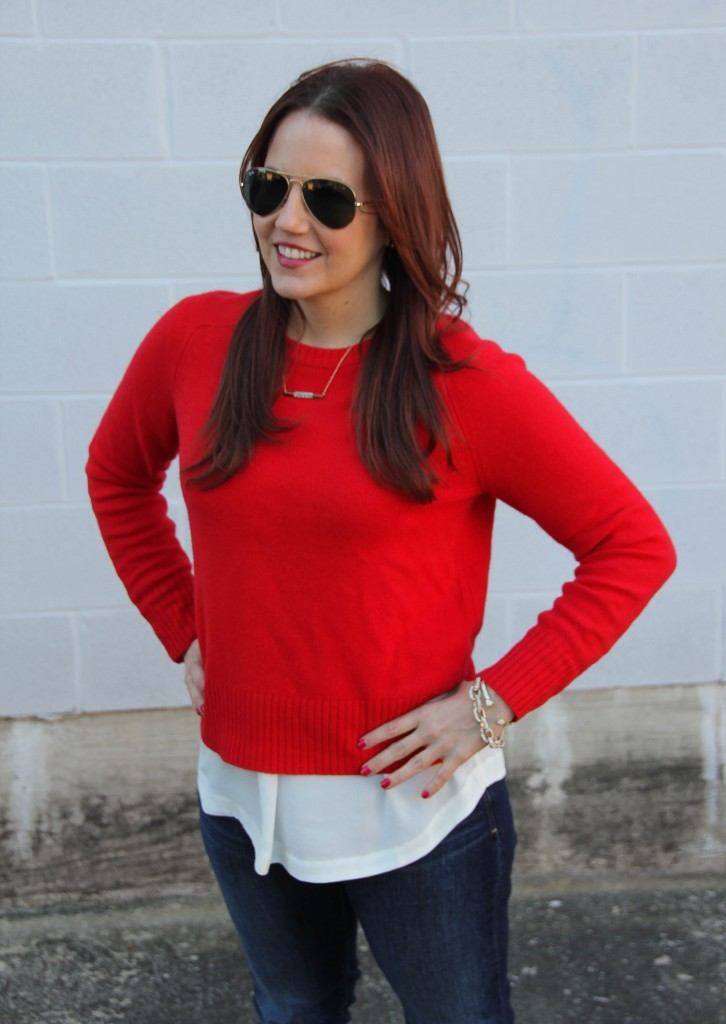 Layer Red Sweater with Tank Top | Lady in Violet