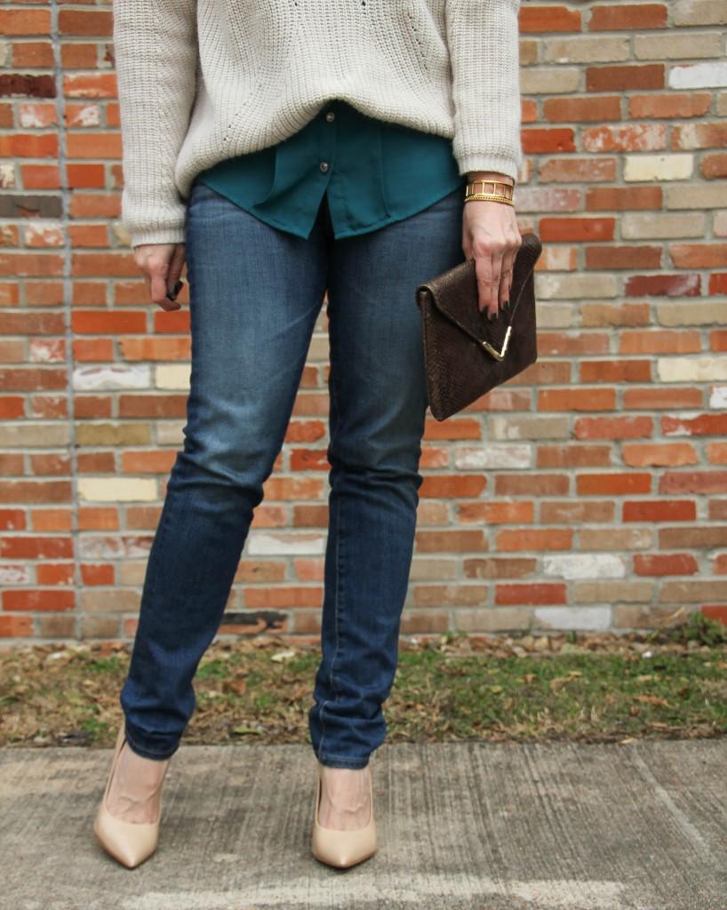 AG Stilt Cigarette Jeans with Steve Madden proto heels | Lady in Violet