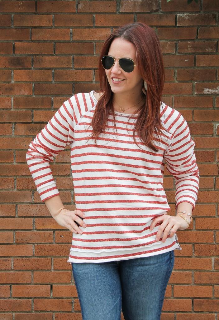 Striped raglan sweater | Lady in Violet