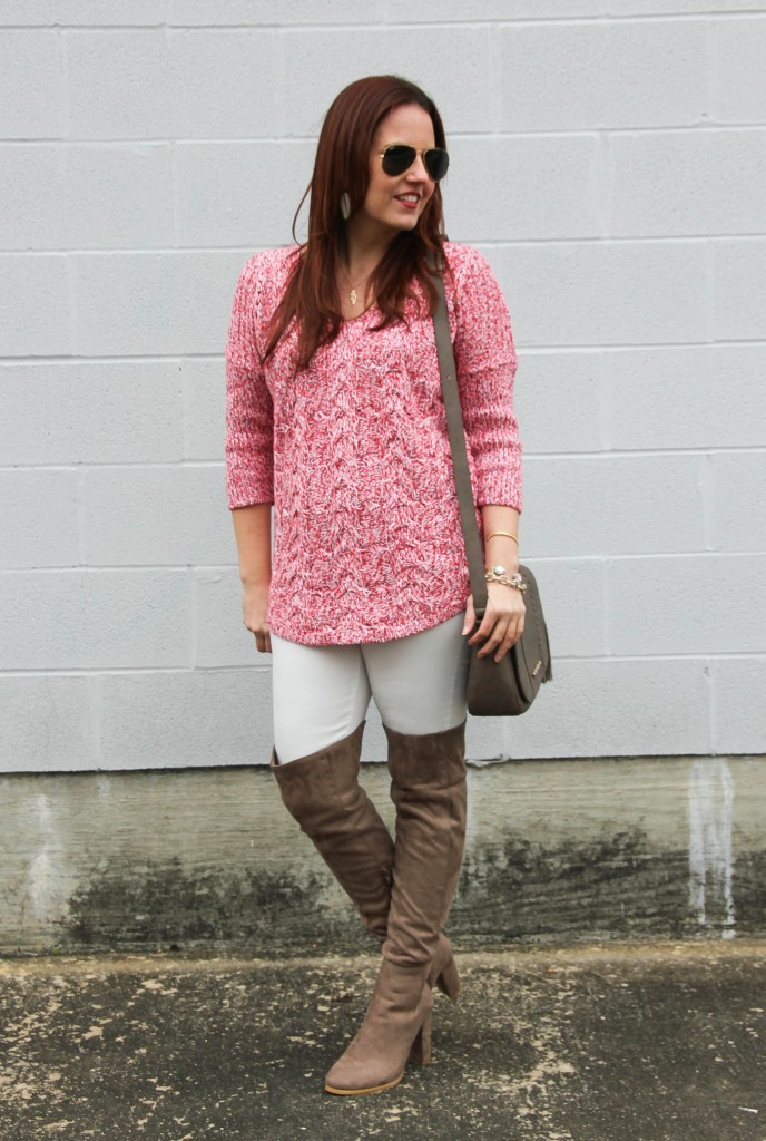Tunic Sweater, White Denim, OTK Boots | Lady in Violet