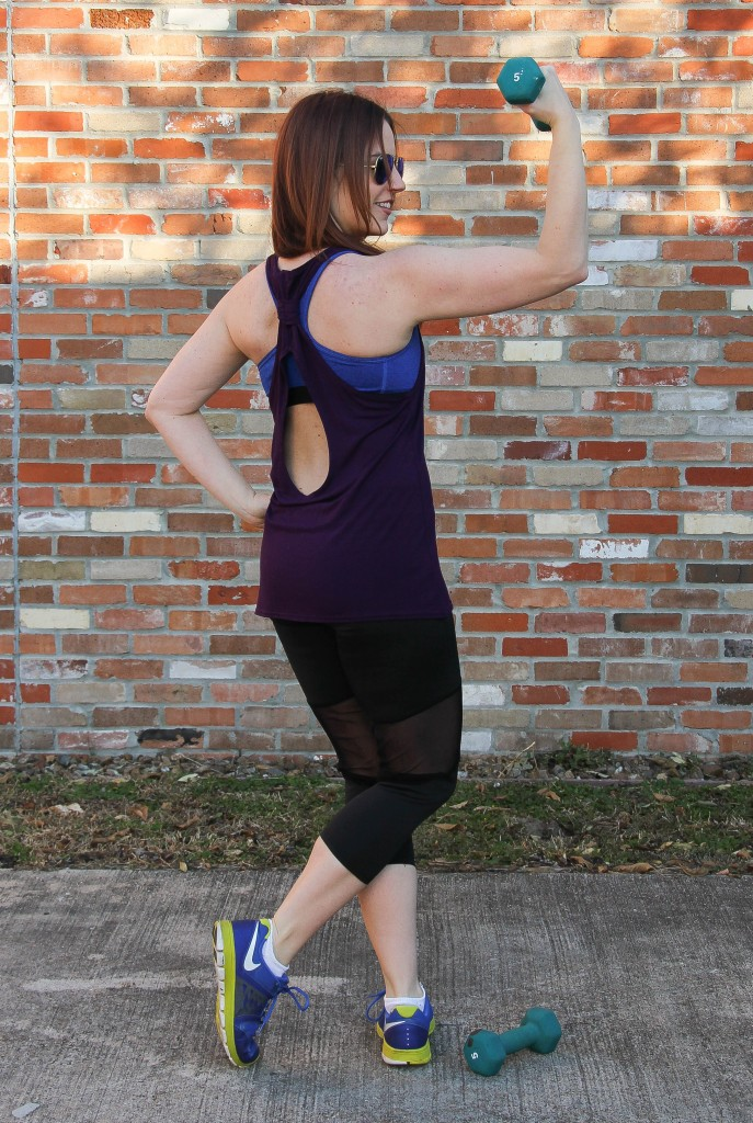 Keyhole Workout Tank and boohoo black leggings | Lady in Violet