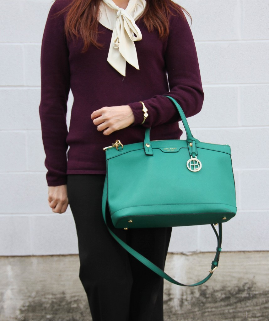 Purple Sweater with tie neck blouse for work | Lady in Violet