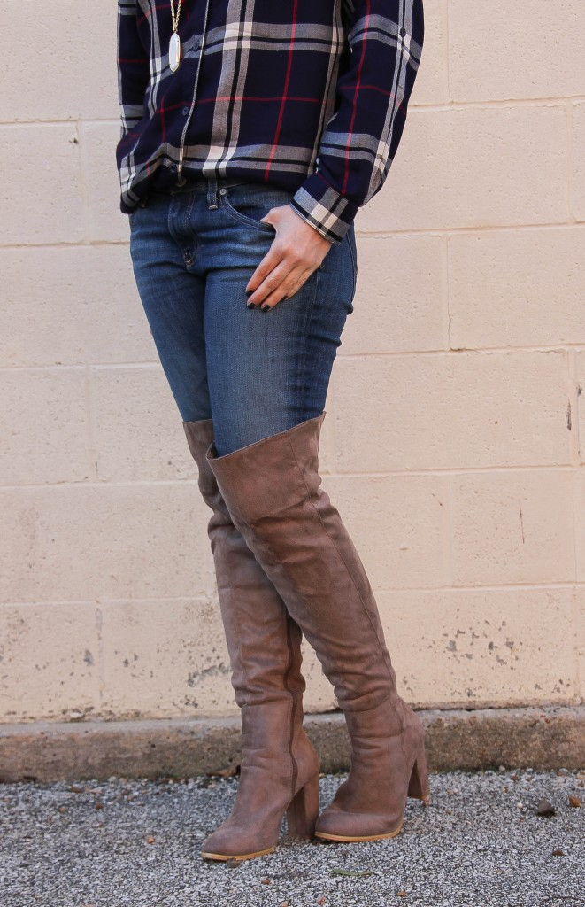 Taupe over the knee boots | Lady in Violet