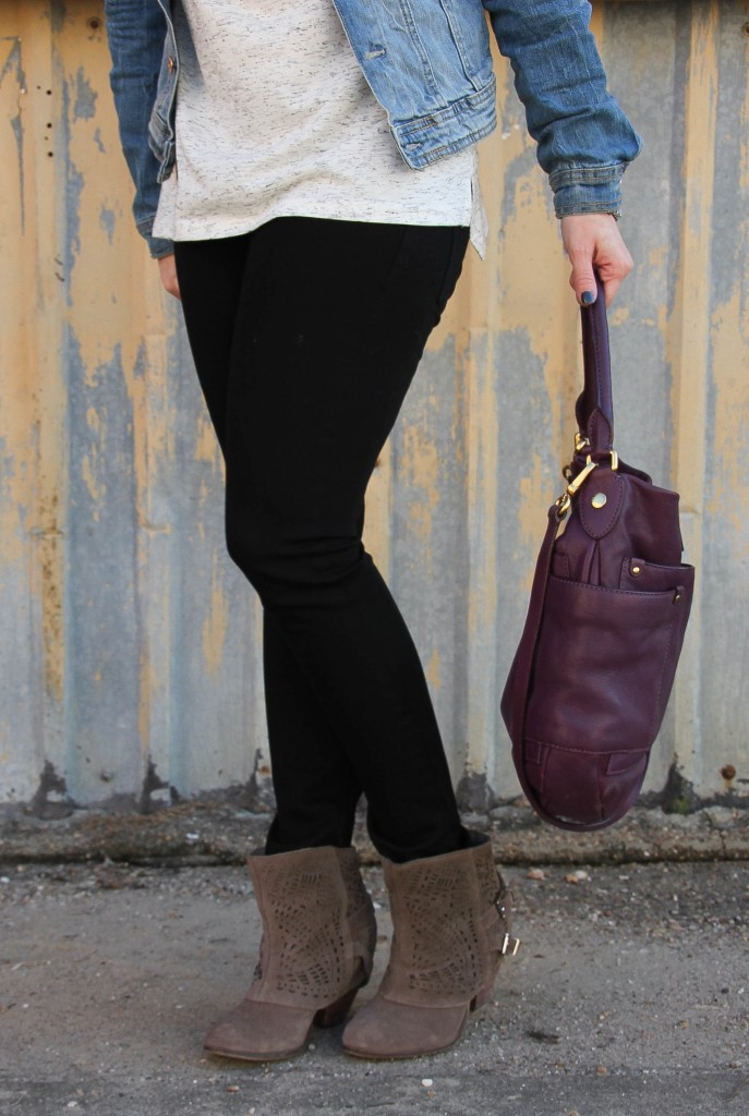 DL1961 Black Skinny Jeans and Taupe Booties | Lady in Violet