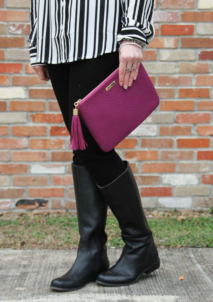 Corso Como Riding Boots and Gigi NY clutch | Lady in Violet