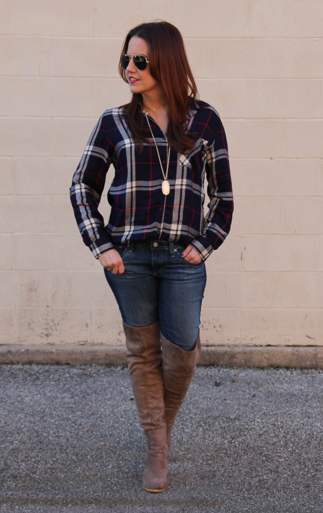 Houston Rodeo Outfit - OTK boots and plaid shirt | Lady in Violet