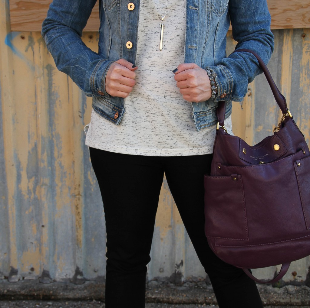 Marc Jacobs preppy hobo and asos tee | Lady in Violet