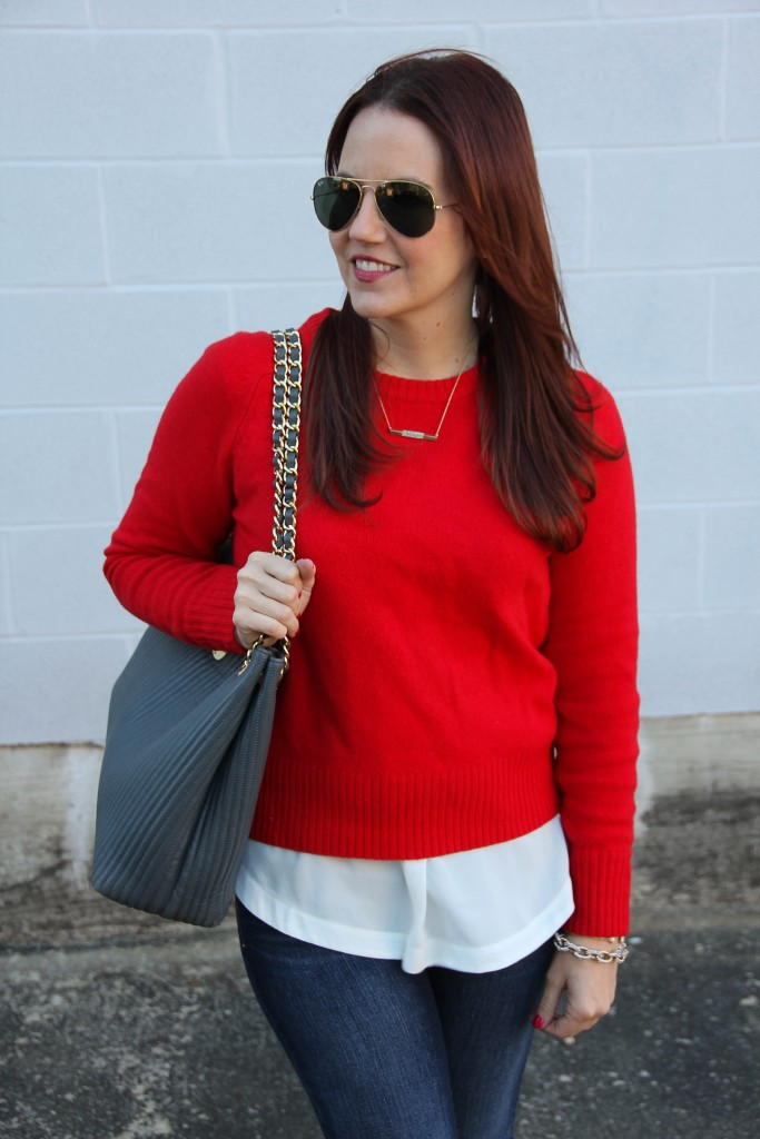 Red Sweater Jcrew Sleevless top | Lady in Violet
