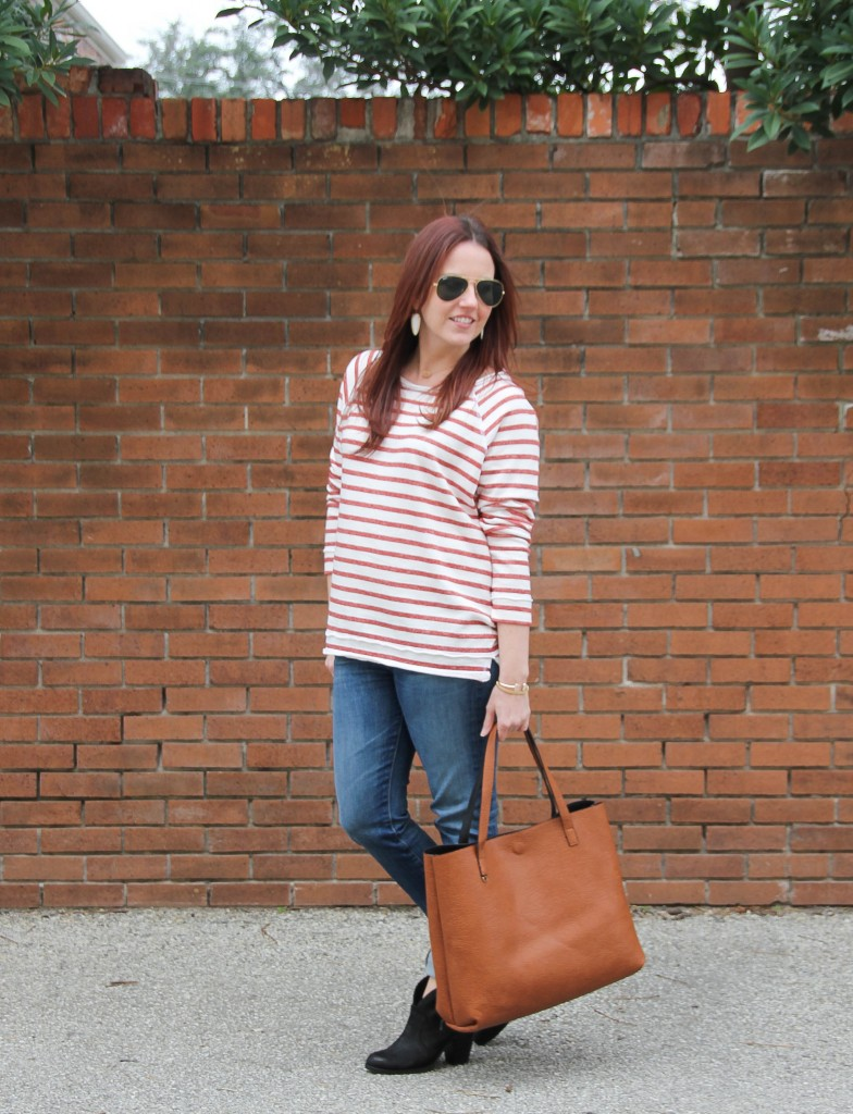 Weekend Outfit - Striped Tee and Big Tote | Lady in Violet