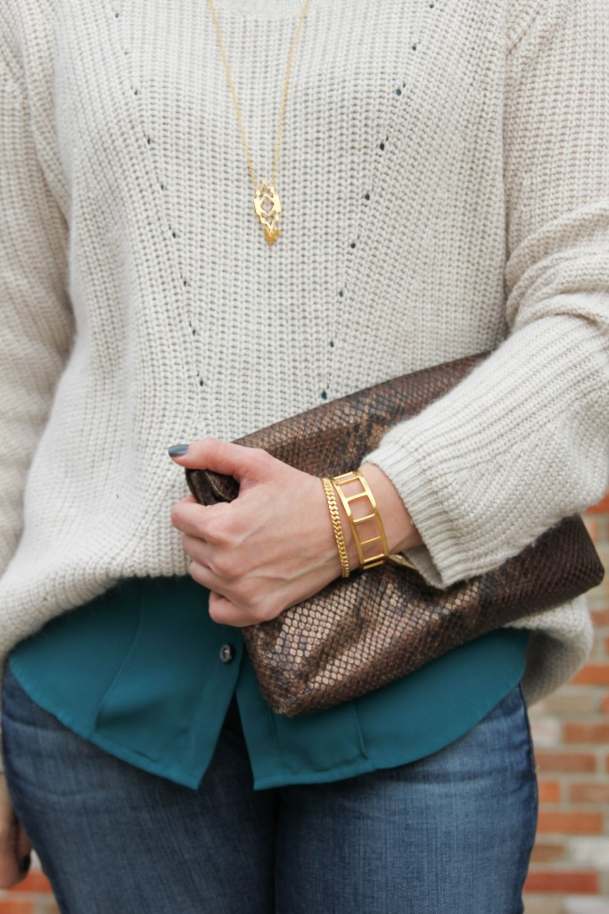 Baublebar Gold Bracelets and Gorjana Alejo Necklace | Lady in Violet
