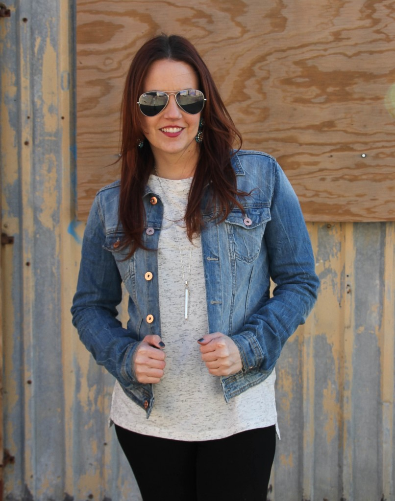 Denim Jacket with rayban aviators | Lady in Violet