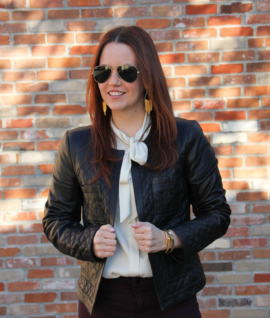 Quilted Leather Jacket and Fringe Earrings | Lady in Violet