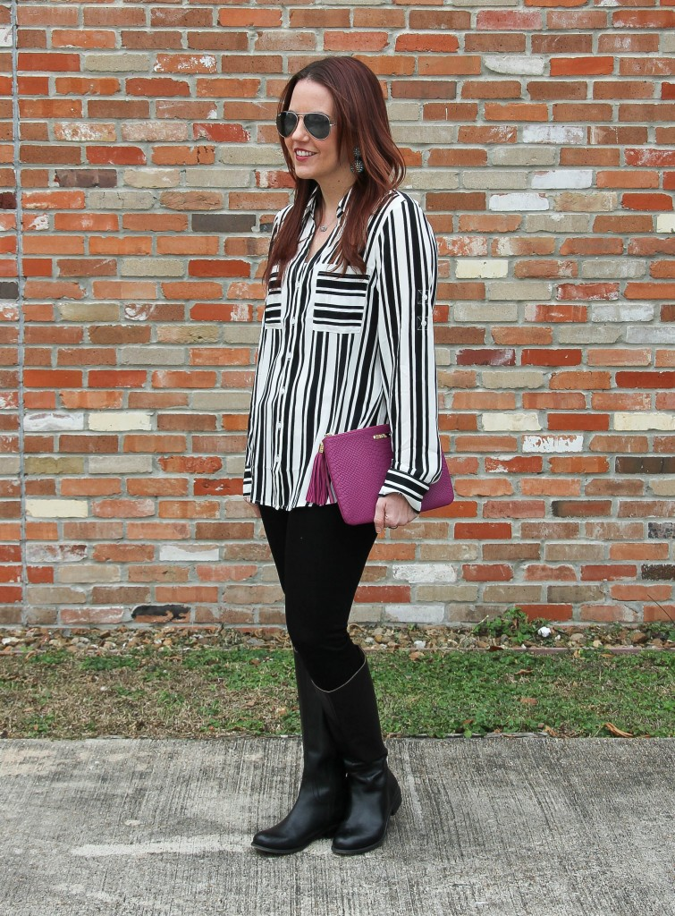Dressed up casual outfit - striped top and black denim | Lady in Violet