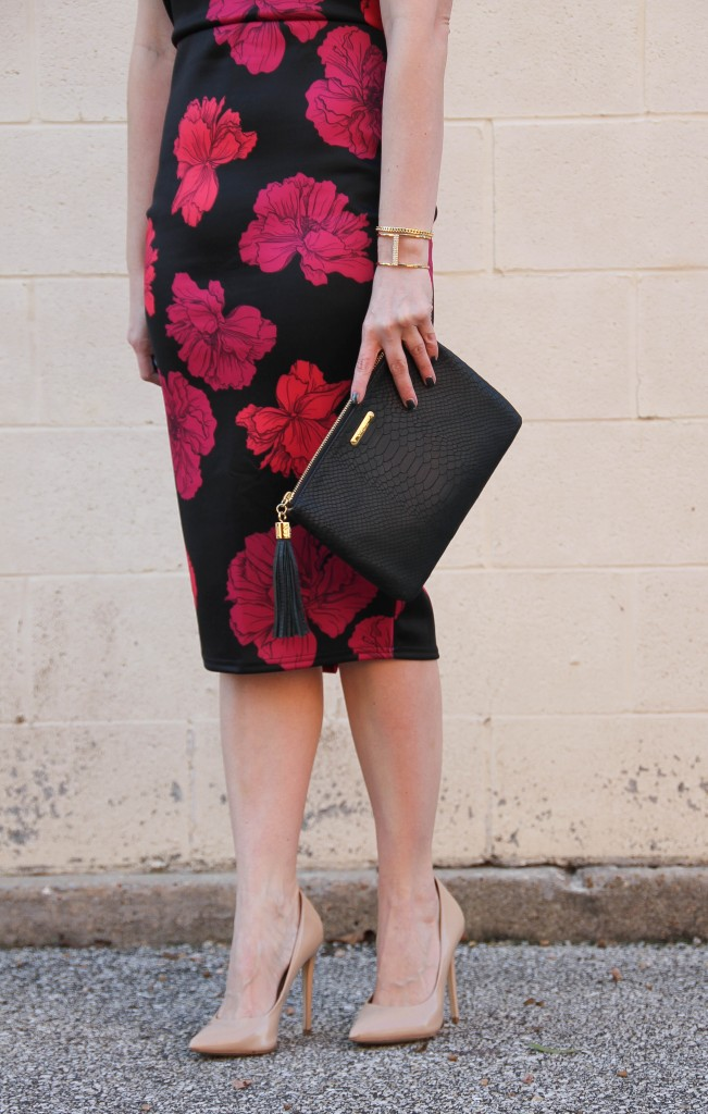 Midi Dress with Blush Heels and Black Clutch | Lady in Violet