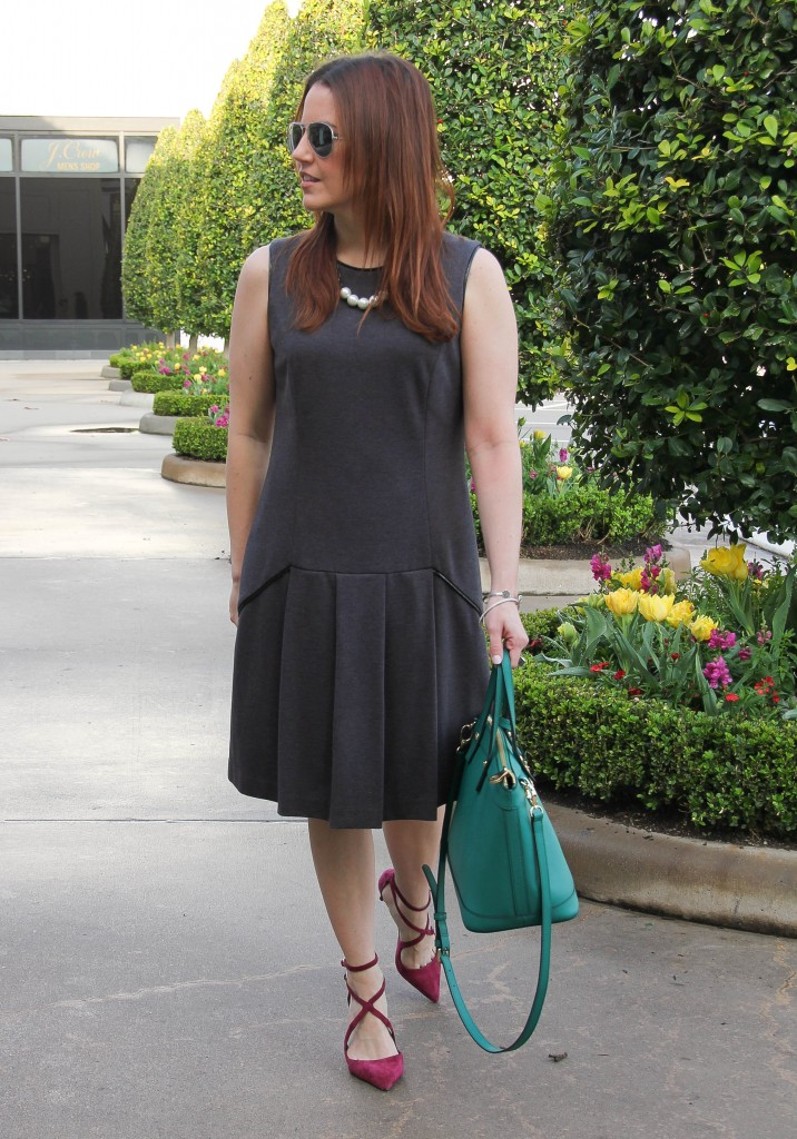 Office Outfit sheath dress and burgundy heels