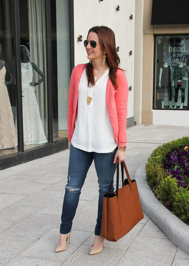 spring weekend outfit - cardigan and distressed denim