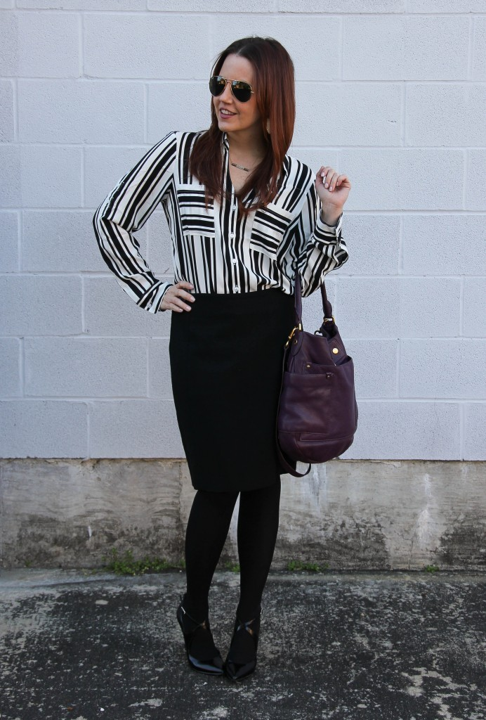 52e6572c779c Winter Office Outfit - Pencil Skirt and Tights | Lady in Violet