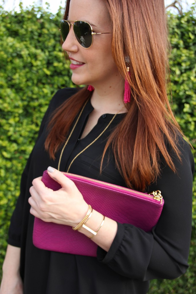 Baublebar Cuff Bracelets and pink tassel earrings