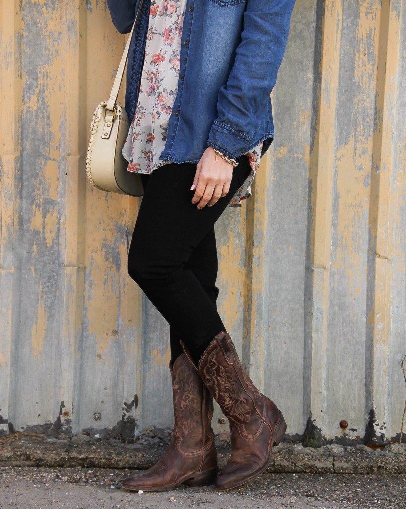 Cowboy Boots and black skinny jeans by lady in violet
