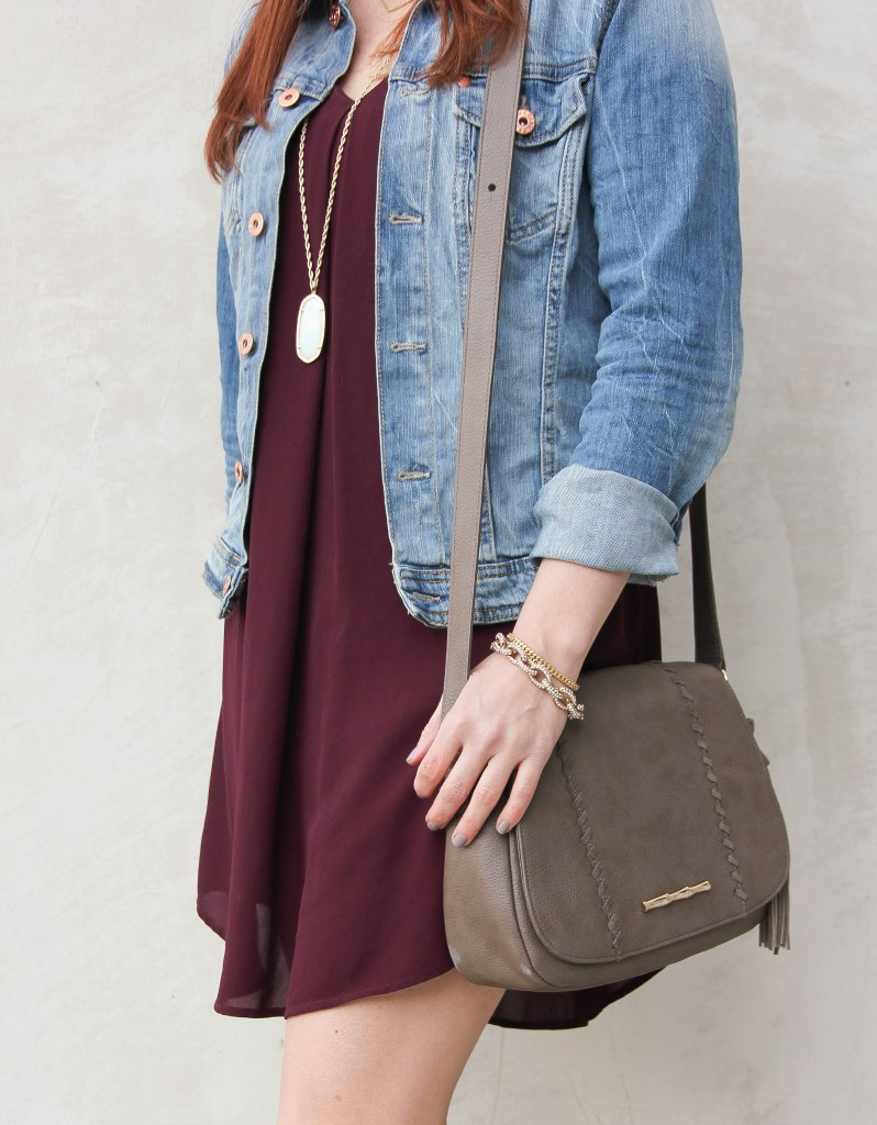 Denim Jacket and swing dress with gray cross-body bag | Lady in Violet