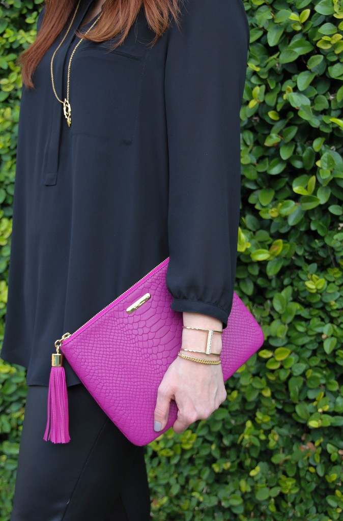 Gigi NY Magenta Clutch and Baublebar pinnacle cuff | Lady in Violet