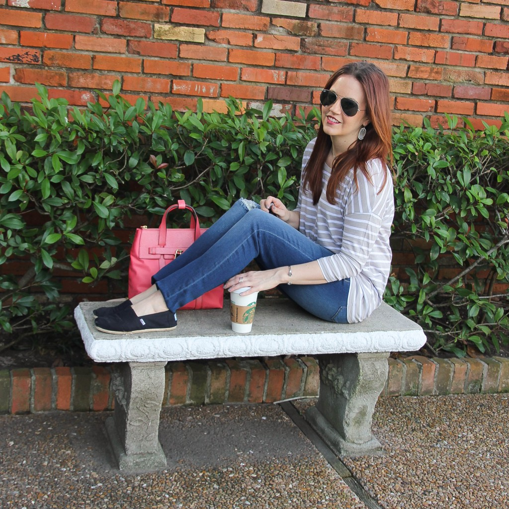 striped tee, jeans, and toms shoes | Lady in Violet