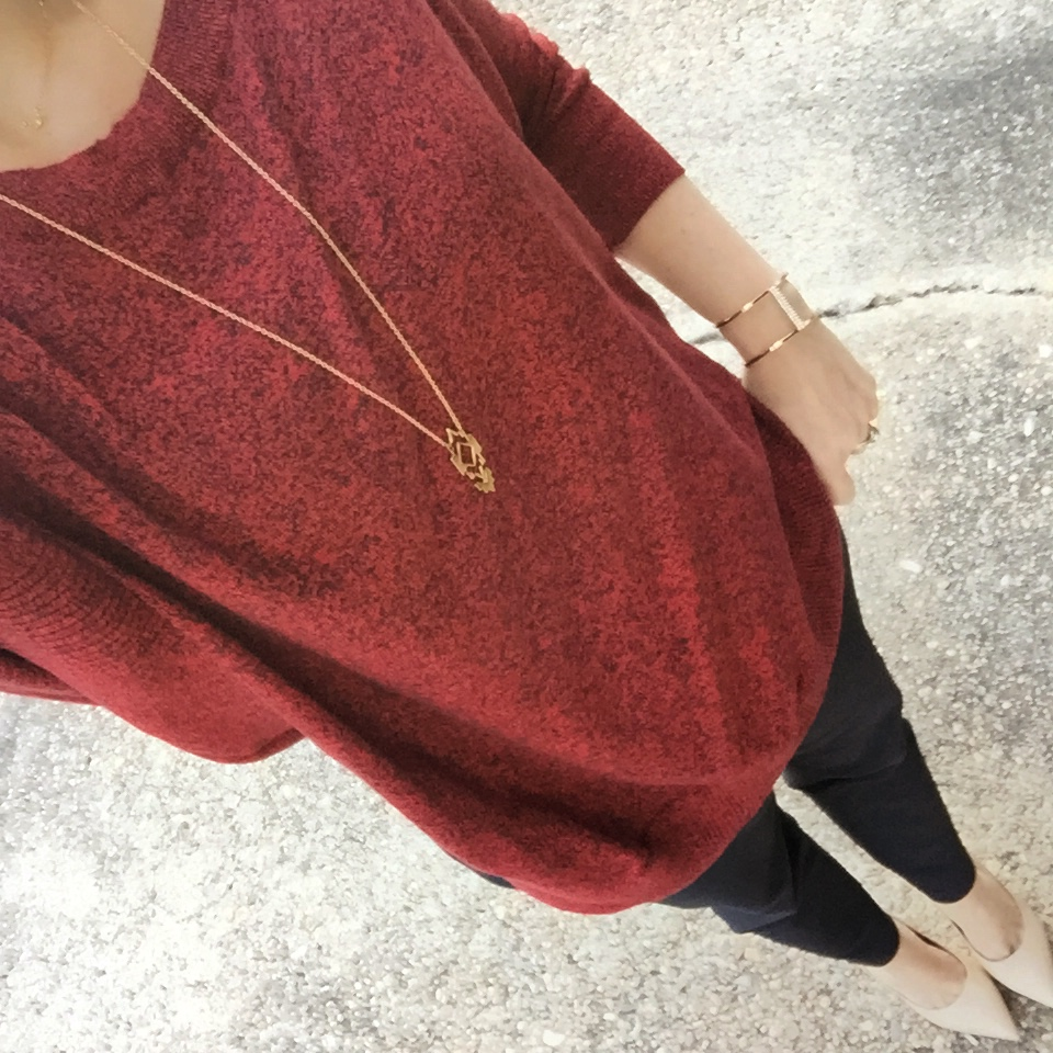 red sweater office outfit
