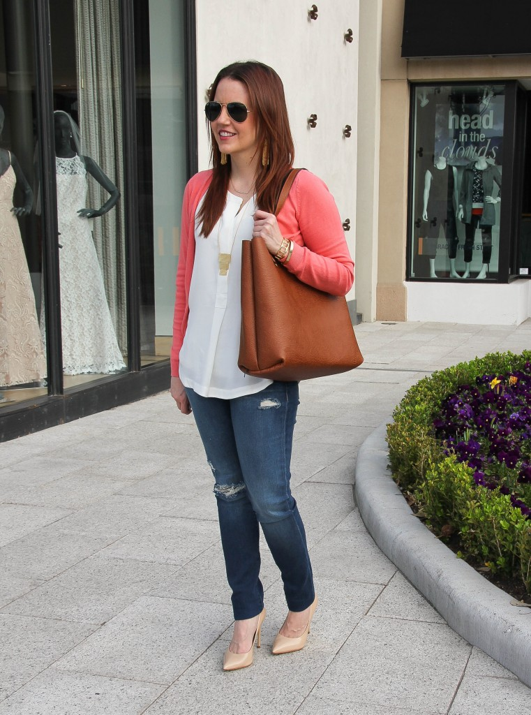 spring outfit - coral cardigan and blush heels with jeans