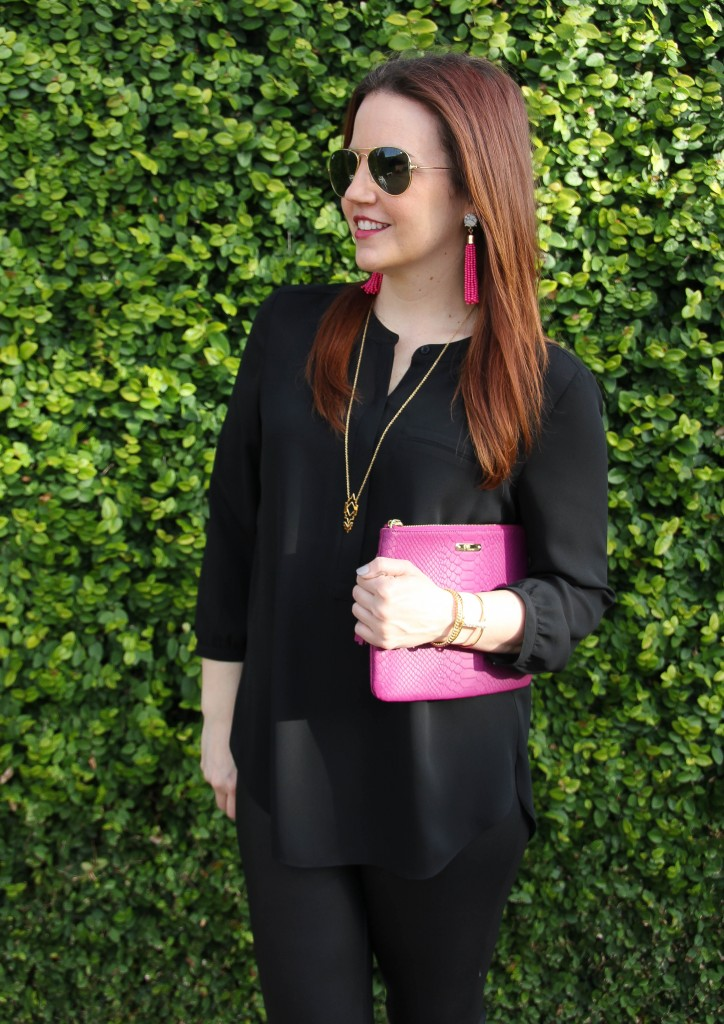 Black Henley Blouse with pink clutch | Lady in Violet