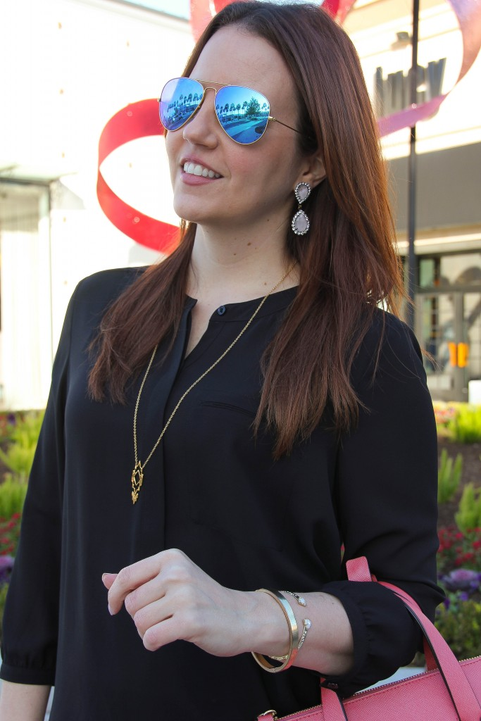 Blue Aviators with black henley blouse and loren hope earrings | Lady in Violet