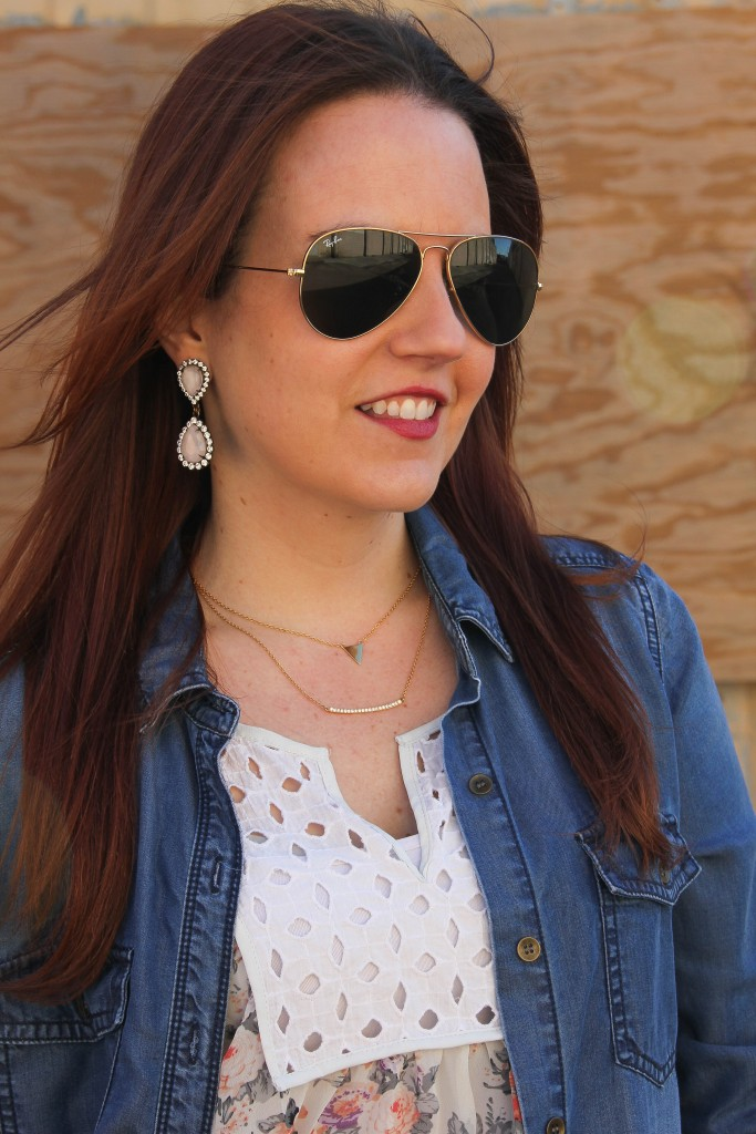 Gorjana Layering Necklaces and Loren hope earrings | Lady in Violet