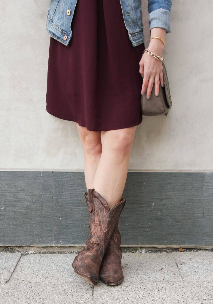 How to wear cowboy boots with a dress by Lady in Violet