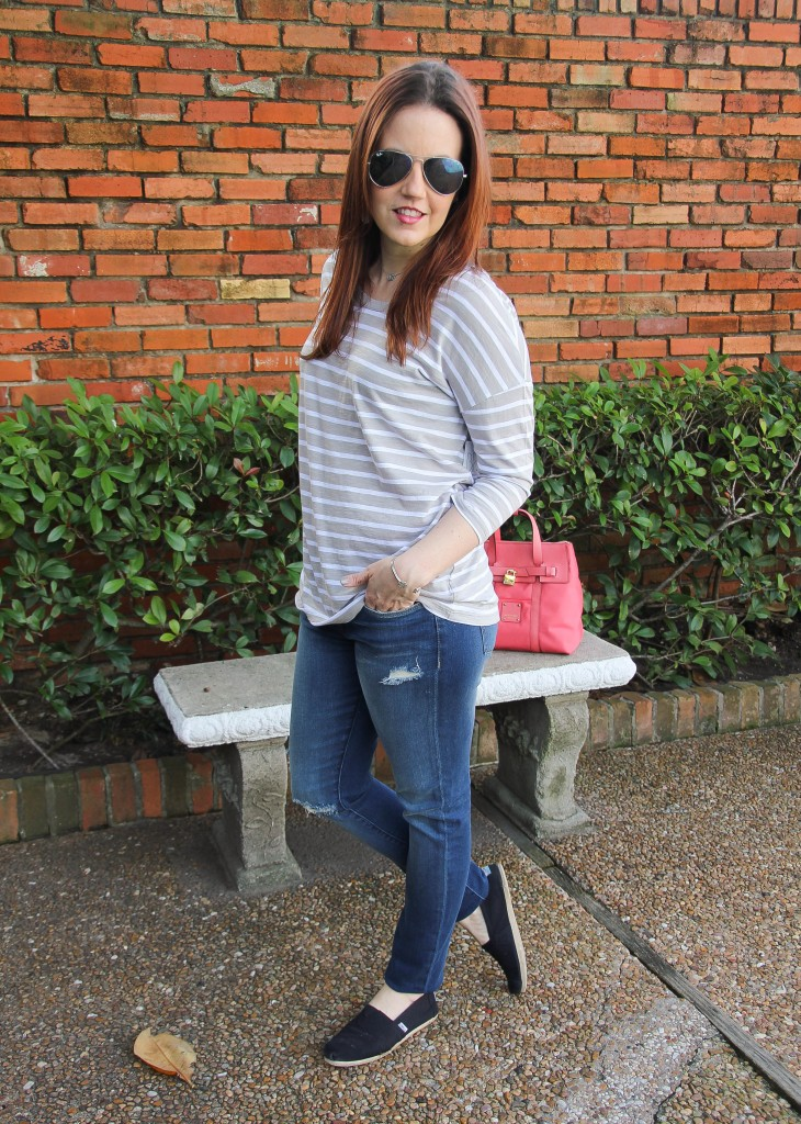 striped tee with jeans, casual outfit | Lady in Violet