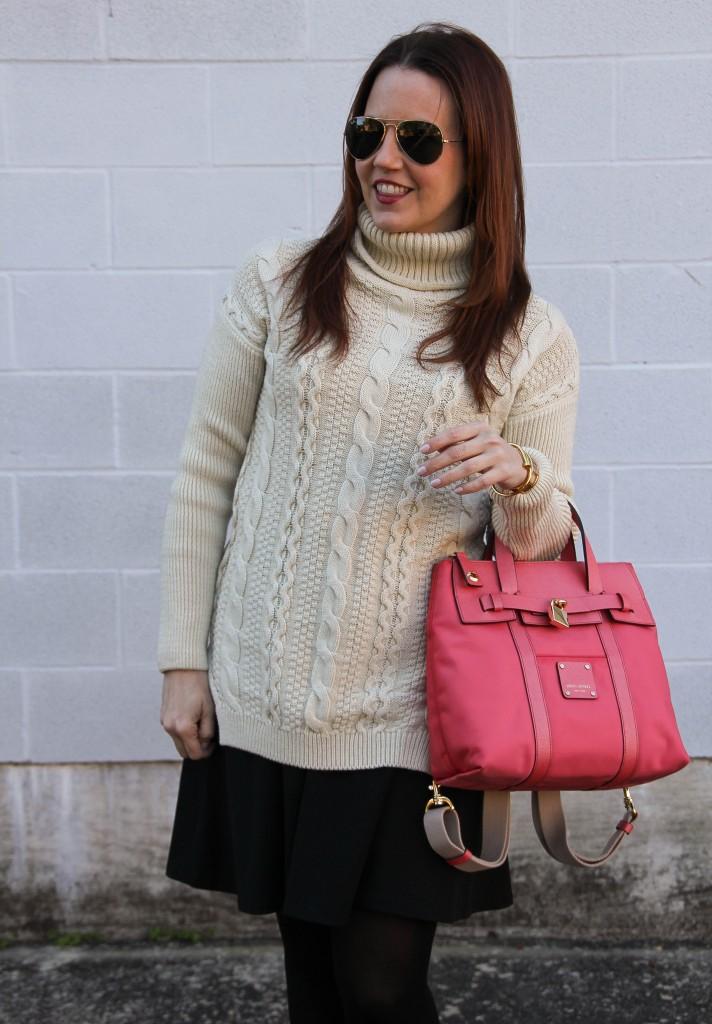 Turtleneck Sweater and Henri Bendel Backpack | Lady in Violet