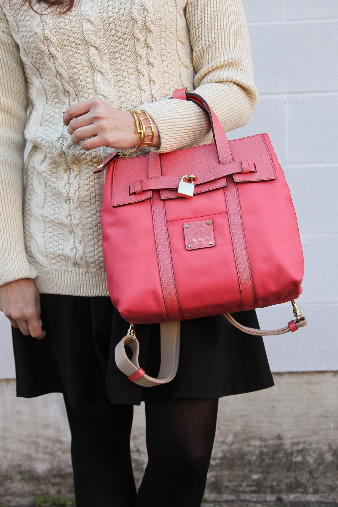 Beige Sweater and Black skirt with pink backpack