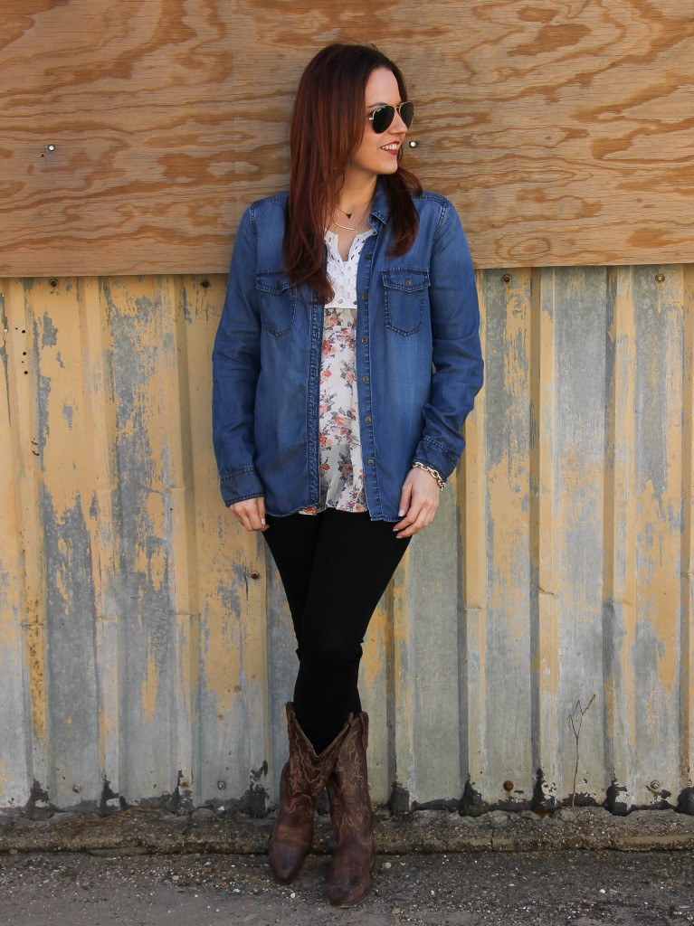 Casual Weekend Outfit - boots and chambray shirt by Lady in Violet