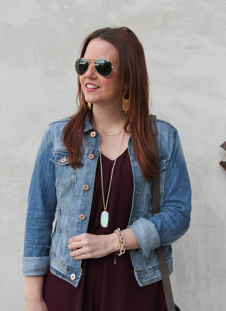 Denim Jacket with a dress and Kendra scott necklace | Lady in Violet