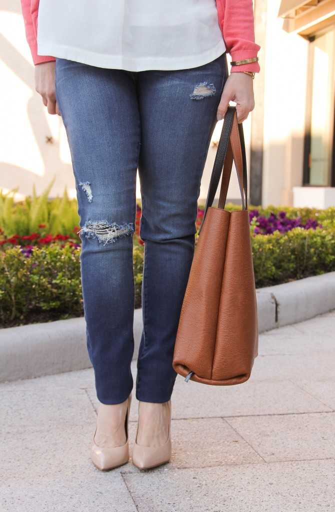 blank nyc distressed denim with brown tote bag